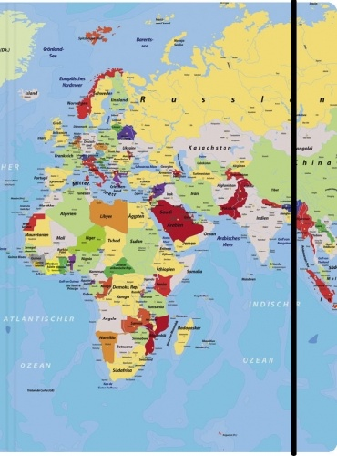Sammelmappe A3, Weltkarte