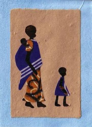"""Karte mit afrikanischem Motiv """"Urubyaro"""", Collage, 11,5x16cm, Ruanda"""