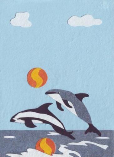 """Grußkarte für alle Anlässe """"Delightful Diving Dolphins"""", Collage, 11,5x16cm, Ruanda"""