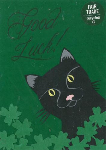 """Grußkarte für alle Anlässe """"Good Luck Cat"""", Collage, 11,5x16cm, Ruanda"""